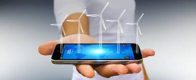 Skissar hållande förnybara energikällor för affärsmannen Fotografering för Bildbyråer