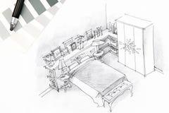 Skissar inre grafiska för sovrum utdraget vid pennan Arkivfoton