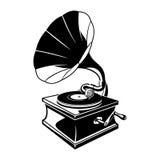 Skissar negativt utrymme för grammofonen illustrationen Arkivbild