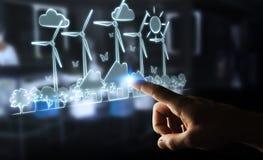 Skissar rörande förnybara energikällor för affärskvinnan Fotografering för Bildbyråer