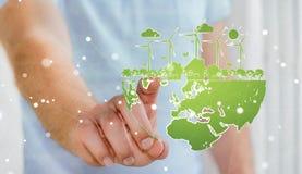 Skissar rörande förnybara energikällor för affärsmannen Arkivfoton