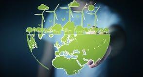 Skissar rörande förnybara energikällor för affärsmannen Royaltyfri Fotografi