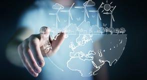 Skissar rörande förnybara energikällor för affärsmannen Royaltyfri Bild