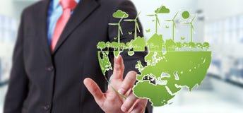 Skissar rörande förnybara energikällor för affärsmannen Arkivbilder