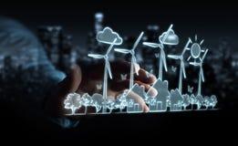 Skissar rörande förnybara energikällor för affärsmannen Royaltyfria Bilder