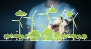 Skissar rörande förnybara energikällor för affärsmannen Fotografering för Bildbyråer