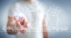 Skissar rörande förnybara energikällor för affärsmannen Royaltyfri Foto