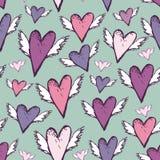 Skissar romantiska sömlösa hjärtor för bröllop med vingar retro stil Royaltyfri Bild