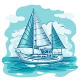 Skissar stiliserade den monokromma vektorn för segelbåten med moln och Royaltyfri Foto