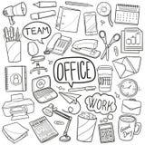 Skissar traditionella klottersymboler för kontor handen - gjord designvektor vektor illustrationer