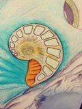 Skissar trippy psychadellic för teckningsillustration slumpmässig kall pics för konst stock illustrationer