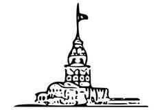 Skissar turkisk kiz Kulesi för jungfrutornet istanbul Turkiet Arkivfoton