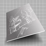 Skissar vit arkitektur för vektorn grå bakgrund stock illustrationer