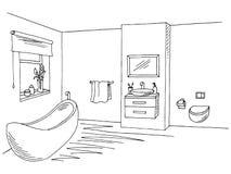 Skissar vit grafik för badruminresvart illustrationen stock illustrationer