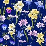 Skissera den blom- sömlösa modellen med blommor i tappningstil S Fotografering för Bildbyråer