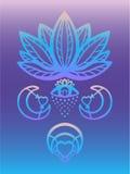 Skissera den utsmyckade vektorn för lotusblommablomman med alkemiögat, esoteriska symboler för måne och för hjärta, handen dragen Royaltyfria Bilder