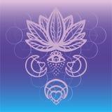Skissera den utsmyckade vektorn för lotusblommablomman med alkemiögat, månen och esoteriska symboler för hjärta, hand dragen härl Arkivfoto