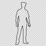 Skissera diagramet polismannen som står den främre sidan, den manliga snuten för konturståenden som är hellång på genomskinlig ba vektor illustrationer