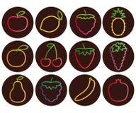 Skissera frukt- och bärsymboler med lutningen, uppsättningen av mörkerrundasymboler, vektorillustration Stock Illustrationer