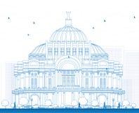 Skissera konstslotten/Palacioen de Bellas Artes i Mexico C Fotografering för Bildbyråer