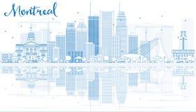 Skissera Montreal horisont med blåa byggnader och reflexion stock illustrationer
