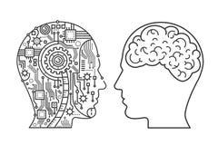 Skissera slaglängdmaskinerihuvudet av cyborgen och det mänskliga med hjärnan Linje stilvektorillustration vektor illustrationer