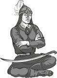 Skisserad etnisk mongoliankrigarekontur också vektor för coreldrawillustration Royaltyfria Foton