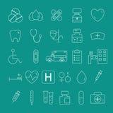 Skisserad fastställd samling för medicinska symboler moderiktig tunn linje design Lätt till recoloren och resize stock illustrationer