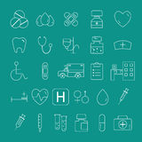Skisserad fastställd samling för medicinska symboler moderiktigt tunt vektor illustrationer