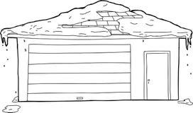 Skisserad garage och dörr med snö Arkivbilder