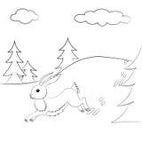 Skisserad harespring i skogen stock illustrationer