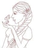 Skisserad illustration av en nätt le flicka med en fjäril Arkivfoton