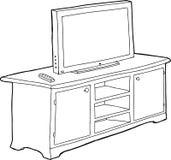 Skisserad kabinett och TV Royaltyfri Bild