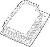 Skisserad kaka med saknadskivan Arkivbild