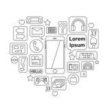 Skisserad kommunikationssymbol: smartphone anslutning, applikation Arkivfoto