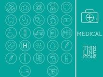 Skisserad läkarundersökning och Healtcare symbolsuppsättning royaltyfri illustrationer