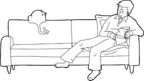 Skisserad man sovande med katten Royaltyfria Bilder