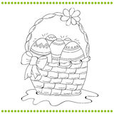 Skisserad påskkorg av ägg Arkivbild