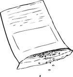 Skisserad packe med frö som ut häller Arkivbild