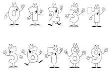 skisserad set för tecknad film vänliga nummer vektor illustrationer