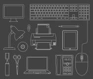 skisserad set vektor för apparater kontor stock illustrationer