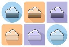 Skisserad symbol av dimmigt väder vektor illustrationer
