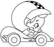 Skisserad ungeracerbilchaufför stock illustrationer