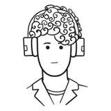 Skisserad vektorillustration av en man' s-framsida med stilfull frisyr och hörlurar vektor illustrationer