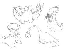 skisserade dinosaurs royaltyfri illustrationer