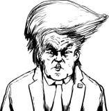 Skisserade Donald Trump i Bouffant frisyr stock illustrationer