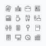 Skisserar den plana symbolsuppsättningen för vektorn av hjälpmedel för affärskontor begrepp Arkivfoto
