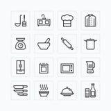 Skisserar den plana symbolsuppsättningen för vektorn av kökmatlagninghjälpmedel begrepp Arkivbilder