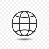 Skisserar jordklotsymbolen med skugga Royaltyfri Foto