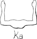 Skisserat egyptiskt Kasymbol Arkivfoton